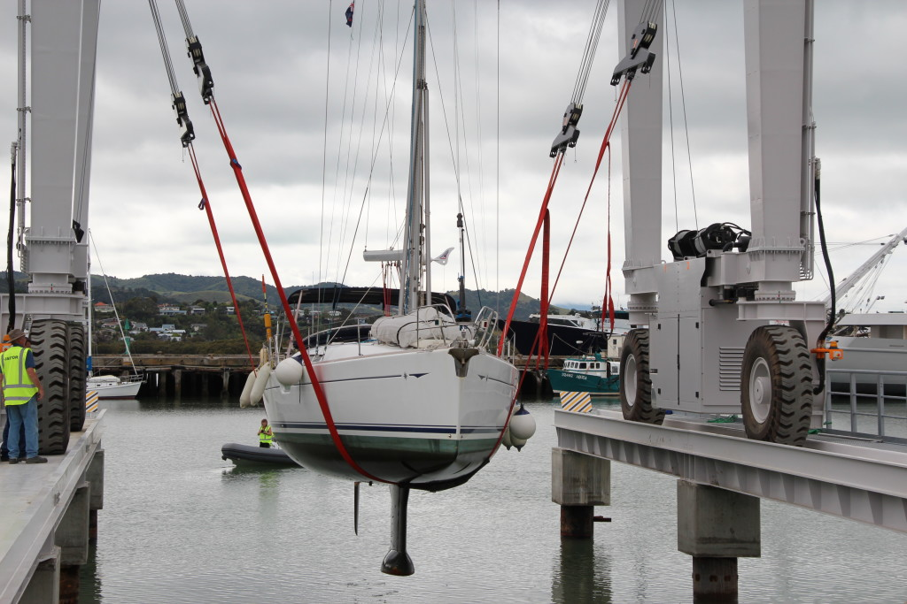First boat being lifted out using the travel lift